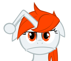 Size: 2640x2271 | Tagged: safe, artist:orangel8989, oc, oc only, oc:karma, pony, unicorn, bust, female, floppy ears, looking at you, mare, ponified, reddit, simple background, solo, transparent background, vector, wat