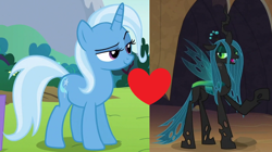 Size: 1248x700 | Tagged: safe, queen chrysalis, trixie, female, lesbian, shipping, shipping domino, trixalis