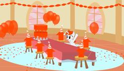Size: 3230x1857   Tagged: safe, artist:orangel8989, oc, oc:karma, pony, unicorn, balloon, birthday, birthday cake, cake, confetti, downvote, female, food, hat, mare, party, party hat, ponified, reddit, solo, streamers, upvote, vector