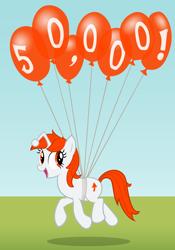 Size: 2000x2850   Tagged: safe, artist:ohitison, oc, oc only, oc:karma, pony, unicorn, 50000, balloon, celebration, cutie mark, female, floating, mare, milestone, ponified, reddit, solo, upvote, vector