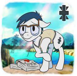 Size: 1920x1890 | Tagged: safe, artist:underwoodart, earth pony, pony, series:digiponies, bag, clothes, colt, crest, digimon, digimon adventure, glasses, insecure, joe kido, male, ponified, shy, simple background, sweater vest, timid, vest
