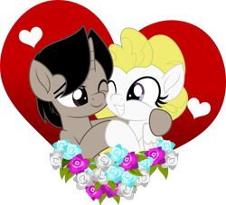 Size: 5000x4545 | Tagged: safe, artist:jhayarr23, surprise, oc, oc:archooves, pegasus, unicorn, archrise, canon x oc, female, flower, heart, holiday, hug, male, mare, shipping, simple background, stallion, transparent background, valentine's day, ych result