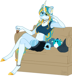 Size: 1078x1132 | Tagged: safe, artist:sharxz, oc, oc:serene shores, anthro, unguligrade anthro, unicorn, alcohol, armpits, clothes, colored, couch, curved horn, ear piercing, earring, fangs, female, flat colors, horn, industrial piercing, jewelry, lounging, midriff, multicolored hair, necklace, pajamas, piercing, plushie, relaxing, simple background, solo, sports bra, transparent background, unicorn oc