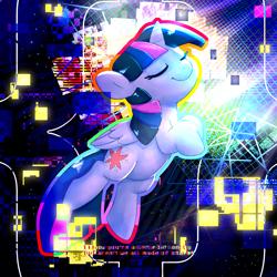 Size: 3000x3000 | Tagged: safe, artist:swerve-art, twilight sparkle, alicorn, eyes closed, glitch art, high res, solo, twilight sparkle (alicorn)