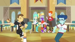 Size: 1539x866 | Tagged: safe, screencap, cloudy kicks, curly winds, heath burns, some blue guy, teddy t. touchdown, tennis match, equestria girls, equestria girls (movie), background human, baseball bat, cafeteria, clothes, compression shorts, eyes closed, female, football, pants, shoes, shorts, skirt, sneakers, sports, tomboy