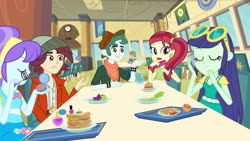 Size: 1539x866 | Tagged: safe, screencap, aqua blossom, blueberry cake, normal norman, rose heart, scott green, equestria girls, equestria girls (movie), background human, cafeteria, canterlot high, cellphone, clothes, compact mirror, eyes closed, female, food, male, phone, smartphone, table