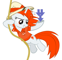 Size: 2476x2421 | Tagged: safe, artist:splintered-pencil, oc, oc only, oc:karma, pony, unicorn, clothes, costume, cutie mark, downvote, female, hat, mare, ponified, reddit, rope, simple background, solo, swinging, transparent background, upvote, vector