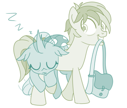 Size: 676x574 | Tagged: safe, artist:sintakhra, ocellus, sandbar, changeling, tumblr:studentsix, bag, carrying, carrying changeling, changeling laying on pony, cute, diaocelles, looking back, mouth hold, on back, sleeping