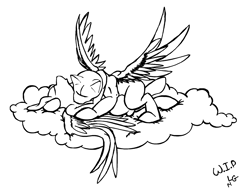 Size: 2040x1568 | Tagged: safe, artist:lucas_gaxiola, oc, oc only, pegasus, pony, cloud, hug, kissing, lineart, monochrome, oc x oc, on a cloud, shipping, signature, wip