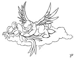 Size: 2040x1568 | Tagged: safe, artist:lucas_gaxiola, oc, oc only, pegasus, pony, cloud, female, kissing, lineart, male, mare, monochrome, oc x oc, on a cloud, on back, shipping, signature, stallion, straight