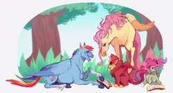 Size: 1024x553 | Tagged: safe, artist:sutexii, fluttershy, rainbow dash, oc, oc:alde, oc:hueswift, manticore, pegasus, pony, adopted offspring, book, cutie mark, female, flutterdash, glasses, grass, lesbian, magical lesbian spawn, next generation, offspring, parent:fluttershy, parent:rainbow dash, parents:flutterdash, shipping, smiling, tree, wings
