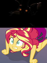 Size: 1660x2216 | Tagged: safe, sunset shimmer, robot, equestria girls, equestria girls series, forgotten friendship, spoiler:eqg series, animatronic, bfpfilms424, buster (trtf), crossover, five nights at freddy's, meme, orange eyes, scared, scott cawthon, the return to freddy's, the return to freddy's 5, torture buster, tyler ahlstrom