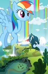 Size: 2481x3840 | Tagged: safe, artist:dashiesparkle, artist:gwennie-chan, artist:jerryakiraclassics19, rainbow dash, pegasus, pony, cloud, female, giant pony, giantess, highrise ponies, macro, mare, mega giant, rainbow waterfall, waterfall, winsome falls