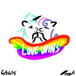 Size: 500x500 | Tagged: safe, artist:ozzyg, bon bon, lyra heartstrings, sweetie drops, earth pony, pony, unicorn, female, lesbian, love wins, lyrabon, mare, rainbow, shipping