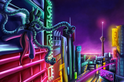 Size: 3111x2057 | Tagged: safe, artist:jamescorck, octavia melody, casino, city, cityscape, crossover, doctor octavia, doctor octopus, female, hotel, las pegasus, neon, night, skyline, solo, sunglasses, sunglasses at night, tentacles