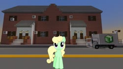 Size: 1334x750 | Tagged: safe, artist:90sigma, edit, editor:topsangtheman, apple honey, apple tarty, earth pony, pony, apple family member, house, looking at you, minecraft, solo, sunset, truck