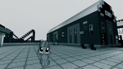 Size: 1334x750 | Tagged: safe, artist:cheezedoodle96, edit, editor:topsangtheman, wind sprint, pegasus, pony, grayscale, looking at you, minecraft, monochrome, new york city subway