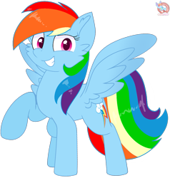 Size: 1077x1133 | Tagged: safe, artist:rainbow eevee, rainbow dash, cheek fluff, colored wings, cutie mark, determined, female, gradient wings, looking at you, mare, multicolored hair, pink eyes, rainbow hair, raised hoof, simple background, smiling, solo, spread wings, transparent background, vector, wings