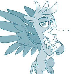 Size: 417x434 | Tagged: safe, artist:sintakhra, gallus, tumblr:studentsix, ..., crossed arms, gallus is not amused, looking at you, solo, spread wings, unamused, wings