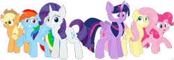 Size: 2885x1004 | Tagged: safe, artist:rainbow eevee, applejack, fluttershy, pinkie pie, rainbow dash, rarity, twilight sparkle, alicorn, pegasus, pony, unicorn, adorkable, blue eyes, blue eyeshadow, cheek fluff, colored wings, cowboy hat, cute, cutie mark, dashabetes, determined, diapinkes, dork, eyeshadow, female, folded wings, freckles, gradient wings, green eyes, grin, hat, jackabetes, looking at you, makeup, mane six, mare, multicolored hair, open mouth, pink eyes, purple eyes, rainbow hair, raribetes, shy, shyabetes, simple background, smiling, spread wings, teal eyes, transparent background, twiabetes, twilight sparkle (alicorn), vector, wings