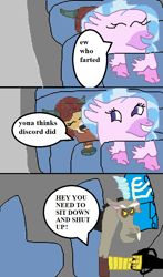 Size: 576x982 | Tagged: safe, artist:1126jewel5, discord, silverstream, yona, angry, bus, comic, implied farting