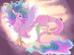 Size: 1200x900 | Tagged: safe, artist:malinraf1615, princess celestia, draconequus, celestequus, draconequified, ethereal mane, female, flowing mane, flowing tail, majestic, solo, species swap, starry mane, watermark