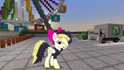 Size: 1334x750   Tagged: safe, artist:mlp-scribbles, edit, editor:topsangtheman, songbird serenade, pegasus, pony, my little pony: the movie, bow, female, ferris wheel, mare, minecraft, truck