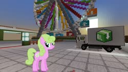 Size: 1334x750   Tagged: safe, artist:eugenebrony, edit, editor:topsangtheman, daisy, flower wishes, earth pony, pony, ferris wheel, looking at you, minecraft, truck