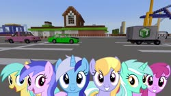 Size: 1334x750 | Tagged: safe, artist:bluemeganium, edit, editor:topsangtheman, berry punch, berryshine, cloud kicker, lyra heartstrings, minuette, sea swirl, seafoam, sunshower raindrops, earth pony, pegasus, pony, unicorn, amusement park, car, looking at you, minecraft, roller coaster, truck