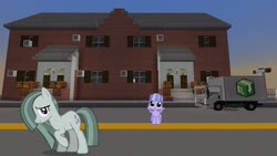 Size: 1334x750 | Tagged: safe, artist:cheezedoodle96, artist:mrkupkake, edit, editor:topsangtheman, marble pie, wind sprint, pony, house, looking at you, minecraft, truck