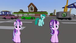 Size: 1334x750 | Tagged: safe, artist:dashiesparkle, artist:eugenebrony, artist:xebck, edit, editor:topsangtheman, spring melody, sprinkle medley, starlight glimmer, pegasus, pony, unicorn, season 6, amusement park, car, duo, looking at you, minecraft, roller coaster, s5 starlight, truck