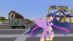 Size: 1334x750   Tagged: safe, artist:ejlightning007arts, edit, editor:topsangtheman, twilight sparkle, alicorn, spoiler:s09e26, amusement park, looking at you, minecraft, older, older twilight, princess twilight 2.0, roller coaster, truck, twilight sparkle (alicorn)