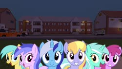 Size: 1334x750 | Tagged: safe, artist:bluemeganium, editor:topsangtheman, berry punch, berryshine, cloud kicker, lyra heartstrings, minuette, sea swirl, seafoam, sunshower raindrops, earth pony, pegasus, pony, unicorn, car, house, looking at you, minecraft, night, truck