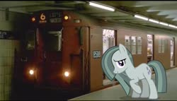 Size: 2048x1168 | Tagged: safe, artist:mrkupkake, edit, editor:topsangtheman, marble pie, pony, irl, looking at you, new york city subway, photo, ponies in real life