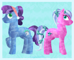 Size: 1100x900 | Tagged: safe, artist:enigmadoodles, atticus, elbow grease, paradise (crystal pony), crystal pony, pony