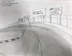 Size: 2685x2103 | Tagged: safe, artist:forzaveteranenigma, billboard, cloudsdale international raceway, fanfiction art, forza motorsport, no pony, race track, read description, traditional art