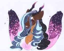 Size: 3265x2603 | Tagged: safe, artist:frozensoulpony, oc, oc:prince azimuth, draconequus, hybrid, high res, interspecies offspring, male, offspring, parent:discord, parent:princess luna, parents:lunacord, solo, traditional art