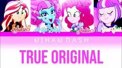 Size: 1280x720 | Tagged: safe, kiwi lollipop, pinkie pie, sunset shimmer, supernova zap, equestria girls, equestria girls series, sunset's backstage pass!, spoiler:eqg series (season 2), k-lo, postcrush, su-z, true original (song)