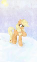 Size: 360x600 | Tagged: safe, artist:darklight1315, applejack, earth pony, pony, cute, dock, jackabetes, missing cutie mark, snow, snowfall, solo