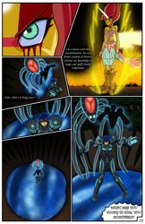 Size: 2331x3600 | Tagged: safe, artist:artemis-polara, flash sentry, sunset shimmer, comic:a battle to save a possessed soul, equestria girls, arm cannon, armor, aura, badass, bleeding, blood, breasts, cleavage, clothes, comic, commission, corrupted, danger, dark samus, daydream shimmer, destruction, devastation, dress, female, fire, forest, gasp, horn, injured, magic, male, metroid, metroid prime, metroid prime essence, night, pain, phazon, possessed, red eye, scared, serious, serious face, shocked expression, tentacles, tree, weapon
