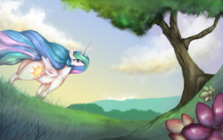 Size: 3488x2196 | Tagged: safe, alternate version, artist:colochenni, princess celestia, alicorn, pony, /mlp/, 4chan, cloud, drawthread, female, fisheye lens, flower, flowing mane, grass, mare, praise the sun, scenery, sky, solo, the ass was fat, tree, windswept mane
