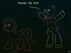 Size: 1000x743 | Tagged: safe, artist:quint-t-w, oc, oc only, oc:pun, oc:silly words, earth pony, original species, pony, sabertooth pony, ask pun, ask, dark souls, female, gradient background, heterochromia, mare, minimalist, modern art, praise the sun, tusk, unshorn fetlocks
