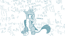 Size: 775x437 | Tagged: safe, artist:sintakhra, gallus, griffon, tumblr:studentsix, addition, difficult, division, hand on mouth, math, math lady meme, meme, multiply, ponified meme, solo, subtract, thinking