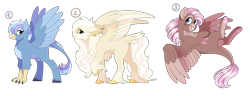 Size: 6500x2500 | Tagged: safe, artist:gigason, oc, oc only, hippogriff, hybrid, female, high res, interspecies offspring, magical lesbian spawn, offspring, parent:gilda, parent:pinkie pie, parent:rainbow dash, parents:gildapie, parents:gildash, simple background, tail feathers, transparent background