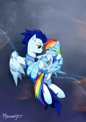 Size: 595x842 | Tagged: safe, artist:meownstersss, rainbow dash, soarin', pegasus, pony, fanfic:rainbow factory, backwards cutie mark, clothes, coat, cute, dashabetes, duo, female, holding a pony, jacket, male, mare, rainbow factory dash, shipping, soarindash, spread wings, stallion, straight, wings
