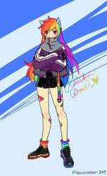 Size: 1024x1684 | Tagged: safe, artist:meownstersss, rainbow dash, human, blushing, clothes, cute, dashabetes, eared humanization, humanized, jacket, long hair, shoes, shorts, sneakers, socks