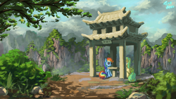 Size: 1920x1080 | Tagged: safe, artist:tinybenz, rainbow dash, oc, oc:lemonade candy, pegasus, pony, canon x oc, chinese chess, cliff, female, male, mare, mountain, outdoors, pagoda, pavilion, rainmonade, scenery, shipping, sitting, stallion, straight