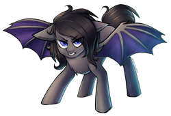 Size: 3016x2054 | Tagged: source needed, safe, artist:earthpone, oc, oc only, bat pony, pony, angry, bat pony oc, commission, female, filly, mare, pounce, simple background, solo, spread wings, transparent background, wings