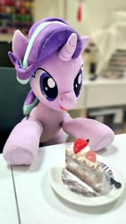 Size: 576x1024 | Tagged: safe, artist:nekokevin, starlight glimmer, pony, unicorn, series:nekokevin's glimmy, cake, female, food, irl, looking down, mare, open mouth, photo, plate, plushie, sitting, smiling, solo, underhoof
