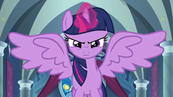 Size: 1068x597 | Tagged: safe, screencap, twilight sparkle, alicorn, the ending of the end, spoiler:s09e24, spoiler:s09e25, angry, magic, solo, spread wings, twilight sparkle (alicorn), wings